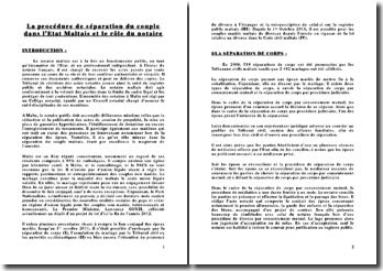 La procédure de séparation du couple dans l'Etat maltais et le rôle du notaire