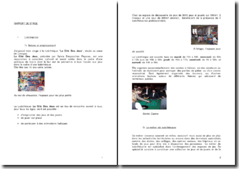 Rapport de stage effectué au sein de la ludothèque La Cité Des Jeux de Limoges