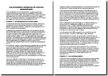 Les principales catégories de contrats administratifs