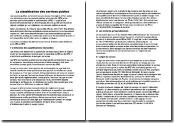 La classification des services publics, la distinction entre les services publics administratifs (SPA) et les services publics industriels et commerciaux (SPIC)