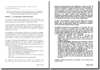 La coopération horizontale en droit de la coopération locale