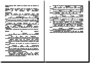 Rapport Balladur 2007: redéfinir les relations entre les membres de l'exécutif