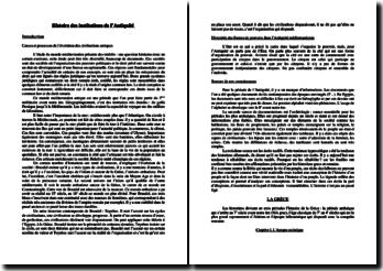 Histoire des institutions de l'Antiquité - l'organisation des pouvoirs poilitiques du monde méditerranéen