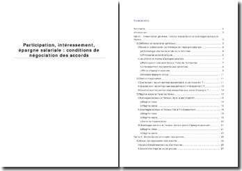 Participation, intéressement, épargne salariale: conditions de négociation des accords