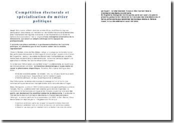 Compétition électorale et spécialisation du métier politique