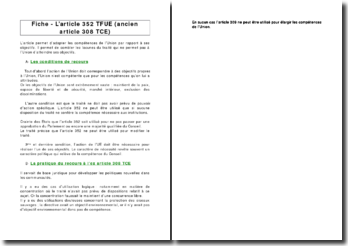 Fiche - L'article 352 TFUE (ancien article 308 TCE)