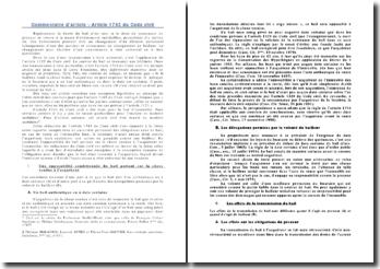Commentaire d'article - Article 1743 du Code civil