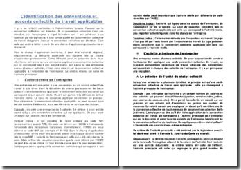 L'identification des conventions et accords collectifs de travail applicables