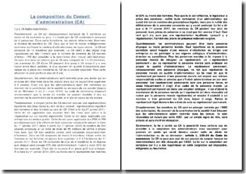 La composition du Conseil d'administration (CA)