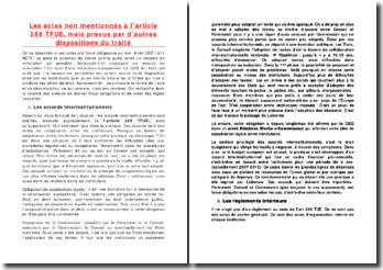 Les actes non mentionnés à l'article 288 TFUE, mais prévus par d'autres dispositions du traité