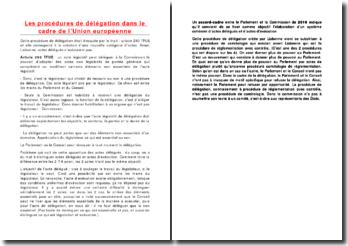 Les procédures de délégation dans le cadre de l'Union européenne
