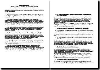 Commentaire de l'arrêt du 10 juillet 2002 de la Chambre sociale de la Cour de cassation: le contenu du contrat de travail