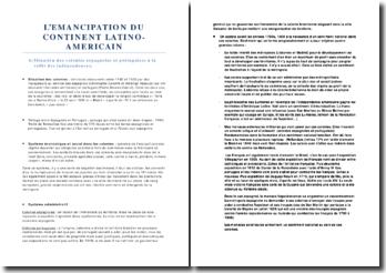 L'emancipation du continent latino-americain