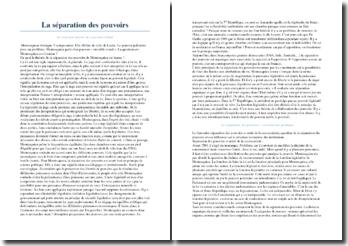 La séparation des pouvoirs - structure interne des pouvoirs d'État et construction juridique