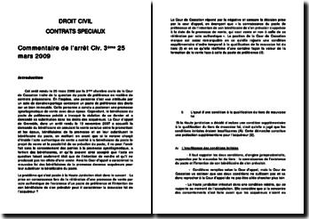 droit civil: contrats speciaux - Commentaire de l'arrêt Civ. 3ème 25 mars 2009