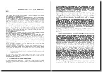 Commentaire d'arrêt : Com. 19 février 2002