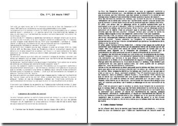 Commentaire d'arrêt fragonnard Civ. 1ère, 24 mars 1987