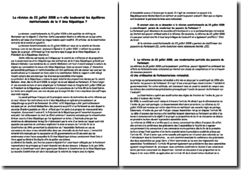 La révision du 23 juillet 2008 a-t-elle bouleversé les équilibres institutionnels de la V ème République ?