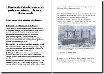 L' Europe de l'absolutisme et du parlementarisme: 16éme et 17éme siècle