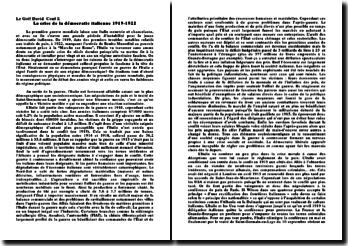 La crise de la démocratie italienne 1919-1922