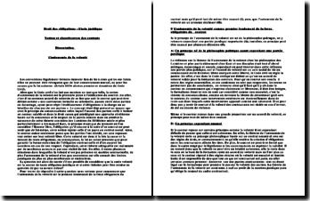 L'acte juridique, notion et classification des contrats, l'autonomie de la volonté