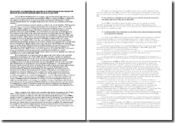 La répartition des pouvoirs et le fonctionnement des organes de direction de la société anonyme après la loi du 15 mai 2001
