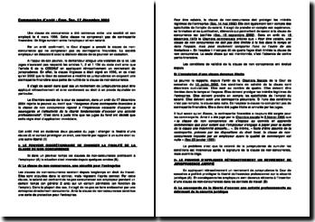 Commentaire d'arrêtde la Chambre sociale de la Cour de cassation rendu le 17 décembre 2004: les clauses de non-concurrence