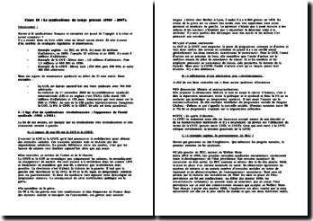 Le syndicalisme du temps présent (1968 - 2007)