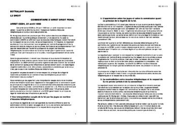 Cour Européenne des Droits de l'Homme, 24 avril 1990: les écoutes téléphoniques