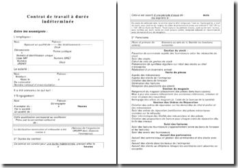 Exemplaire d'un contrat de travail à durée indéterminée