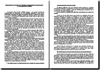 Arrêt de la Chambre commerciale du 23 juin 2004: la société créée de fait entre concubins