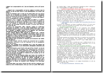 L'objectif de la responsabilité civil , Cour de Cassation, arrêt du 27 janvier 2000