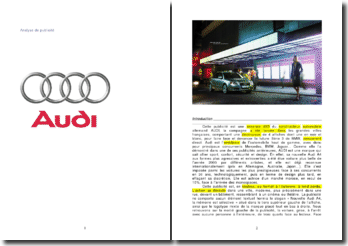 L'analyse d'une publicité pour la nouvelle Audi A4
