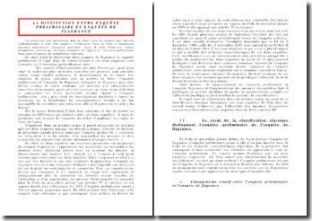 La distinction entre enquête préliminaire et enquête de flagrance