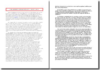 Commentaire d'arrêt de la Chambre criminelle de la Cour de cassation rendu le 7 juin 2011: la garde à vue