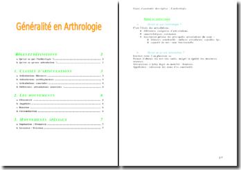 Anatomie descriptive: généralité en arthrologie