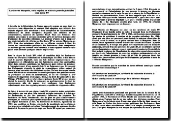 La réforme Maupeou, ou la reprise en main du pouvoir judiciaire sous Louis XV