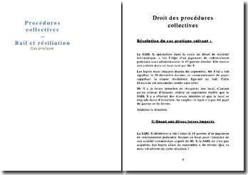 Etude de cas pratique en droit des procédures collectives: le bail et la résiliation