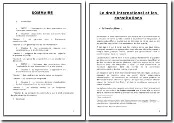 Quel rapport existe-t-il entre le droit international et les constitutions ?