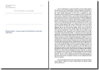 Solutions quant aux exigences relatives au prix et remise en cause de l'éclatement du droit des contrats spéciaux