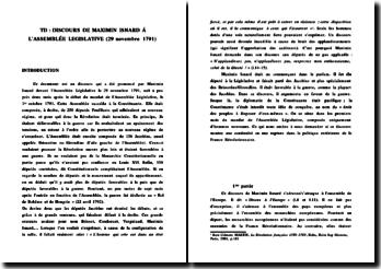 Le discours de Maximin Isnard à l'Assemblée Législative (29 novembre 1791)