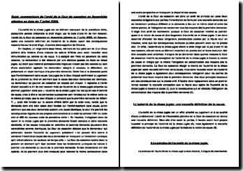 Commentaire de l'arrêt de la Cour de cassation en Assemblée plénière en date du 7 juillet 2006: l'autorité de la chose jugée