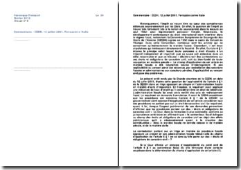 Commentaire d'arrêt rendu par la Grande chambre de la CEDH le 12 juillet 2001: Ferrazzini contre Italie