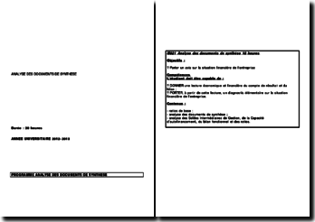 L'analyse financière: analyse des documents de synthèse