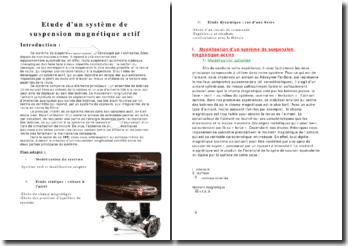 L'étude d'un système de suspension magnétique actif
