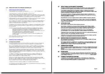Bibliothèque d'articles pour les cahiers des clauses techniques particulières (CCTP): les prescriptions techniques générales