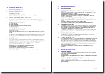 Bibliothèque d'articles pour les cahiers des clauses techniques particulières (CCTP): la charpente métallique