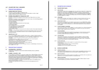 Bibliothèque d'articles pour les cahiers des clauses techniques particulières (CCTP): la couverture tuile - zinguerie