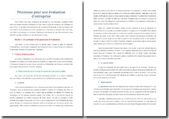 Les principes d'un processus d'évaluation d'entreprise