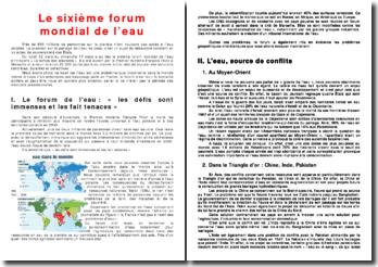 Le sixième forum mondial de l'eau